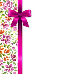Flowers Card With Ribbon vector