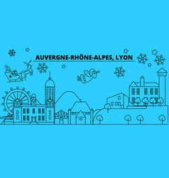 France lyon winter holidays skyline merry vector