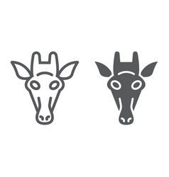 giraffe line and glyph icon animal and zoo vector image
