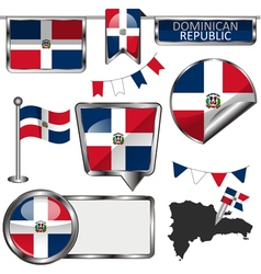 Glossy icons with Dominican flag vector image