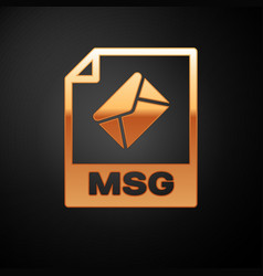 Gold msg file document icon download msg button vector