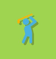 Golf sport golfer man in sticker style vector
