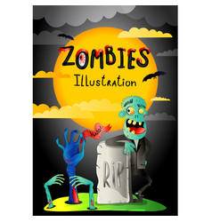 Halloween party banner with zombie in cemetery vector