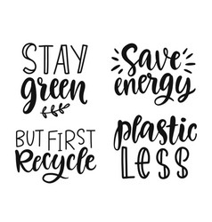 Hand drawn ecology lettering eco friendly poster vector