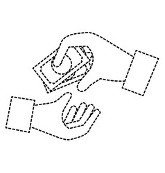 Hands human with bill money isolated icon vector