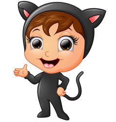 Happy kid wearing cat costume waving hand vector