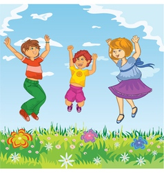 Happy kids jumping vector