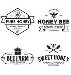 honey vintage logo and icons for honey vector image