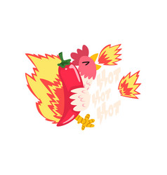 Hot fire chicken with red chilli pepper creative vector