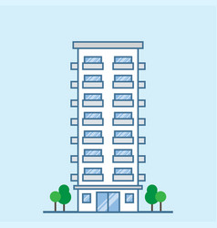 hotel building facade with balconies vector image