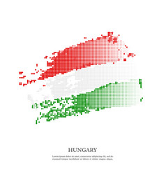 hungary flag with halftone effect grunge texture vector image