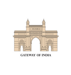 india mumbai city indian gateway famous landmark vector image