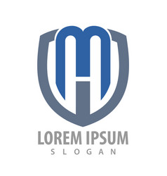 initial letter mw shield logo concept design vector image