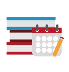 Isolated books calendar and pencil design vector