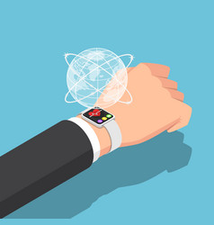 isometric businessman with smartwatch on his wrist vector image