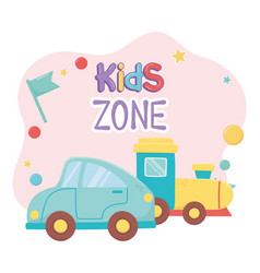 Kids zone blue car and train plastic objects vector