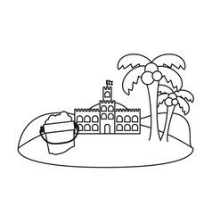 Line castle of the sand with bottle and palms in vector