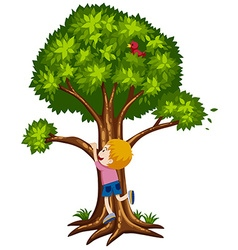 Little boy climbing up the tree vector