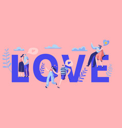 Love couple character dating banner happy lover vector