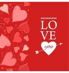 Love you lettering Greeting Card on red back vector image