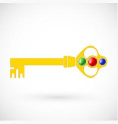 Magic key icon isolated vector