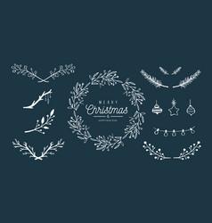 merry christmas hand drawn decoration set vector image