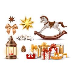 Merry christmas realistic symbols toys set vector
