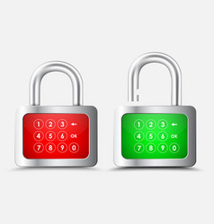 metal rectangular padlock with a red and green vector image