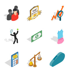 Nomination icons set isometric style vector