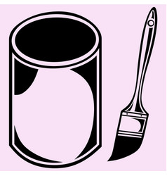 Paint jar and paint brush vector