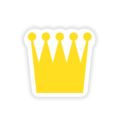 Paper sticker British crown on white background vector
