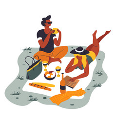 picnic couple on carpet bottle alcohol vector image