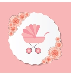 Pink Baby Carriage for vector