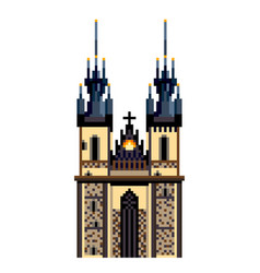 Pixel prague tyn church city symbol detailed vector