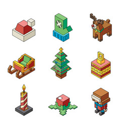 polygonal outline new year isometric lowpoly vector image