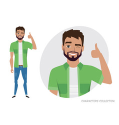 Positive men smiling and recommended vector