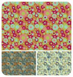 retro flowers set vector image