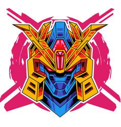 Robot head mascot logo design vector