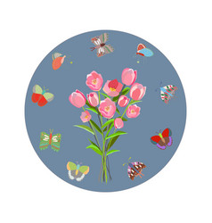 round flat frame with butterflies and tulips vector image