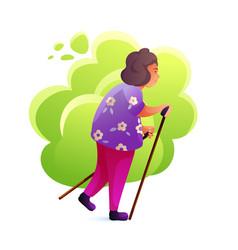 Senior woman nordic walking flat vector