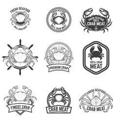 set crab meat labels fresh seafood design vector image