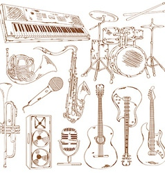 set isolated sketch musical instruments vector image