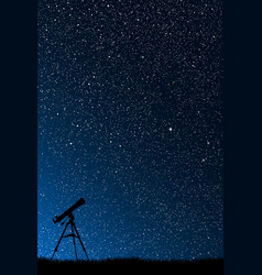 silhouette a telescope starry sky vector image