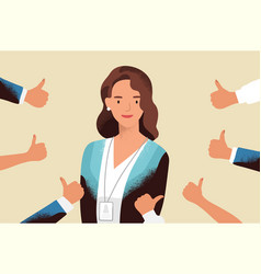 Smiling happy young woman surrounded hands vector