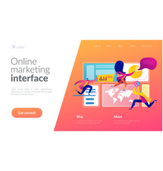 Social media dashboard landing page template vector