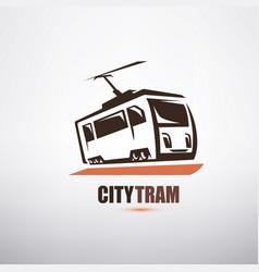 stylized cartoon tram symbol city transport logo vector image