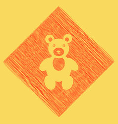teddy bear sign red scribble vector image