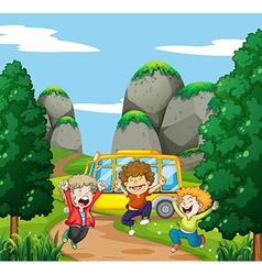 Three happy boys in the park vector image