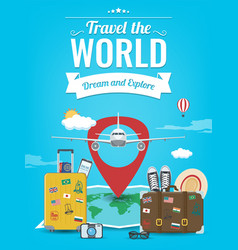 Travel background with luggage airplane world vector