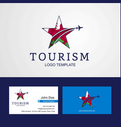 Travel wales flag creative star logo and business vector